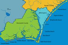 Map of Wilmington, NC and Brunswick County NC.  Find a beach home on one of the many island in Coastal North Carolina!