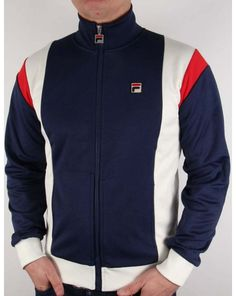 fila vintage futsa track top in navy gardenia & red - #80s casual mk1 borg retro from $94.15