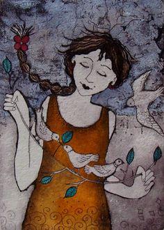 Artwork of Anine Barnard exhibited at Robertson Art Gallery. Original art of more than 60 top South African Artists - Since African Colors, African Paintings, South African Artists, Woman Painting, Beautiful Birds, Lovers Art, Illustrators, Folk Art, Graphic Art