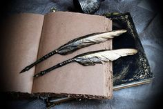 Black and Gold Feather Quill Pen - Ideal for jotting down history (of magic) notes. Available in ballpoint or traditional nib.