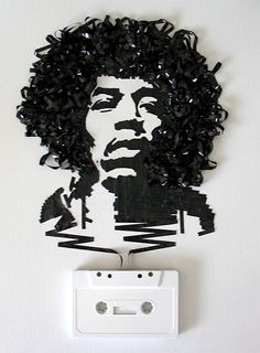 Artist Erica Iris Simmons creates portraits with recycled material most people would never think to work with--the ribbon inside cassette tapes.