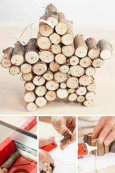 Puedes crear una preciosa estrella de Navidad haciendo pequeños cortes a una rama que encuentres mientras paseas. Le dará un toque natural a tu decoración navideña.