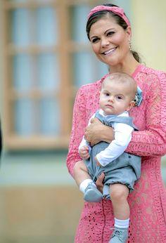 Crown Princess Victoria & Prince Oscar attend Prince Alexander's christening on September 9, 2016.