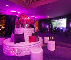 Guests' thoughtful words regarding the celebrant are projected on a large screen as they enter the venue.