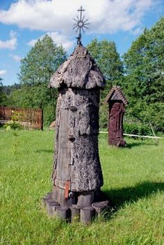 Ancient Verticle Bee Hive: Beekeeping Museum in Lithuania