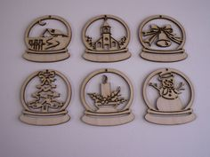 Christmas Ornaments, 6 Piece Set,Laser Cut Outs,Unfinished Wood,Ornaments,Tags