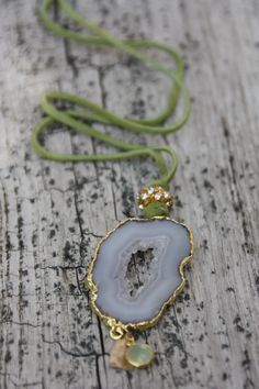 Gold Agate Slice Druzy Necklace, Leather necklace, Lime Green long necklace, Druzy, Drusy, Druzzy