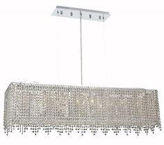 Elegant Lighting - 1391 Moda Collection Hanging FixtureL46in W9.5in H11in Lt:8 Chrome. The Moda Collection consists of a richly ornate outer shade pattern that creates a beautiful silhouette against the glimmering crystal strands generously hanging from the body. There are many colors and patterns to choose from making this Collection uniquely yours.Specifications:  Style Contemporary   Collection Moda    Chain/Wire Included  6 ft.    Light Blubs  8    Bulb Type  E12    Bulb Wattage  40…