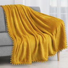 Yellow Throw Blanket, Yellow Flannel, Fleece Throw, Your Turn, Mustard Yellow, Warm And Cozy, Boho Decor, Plush, Couch Sofa