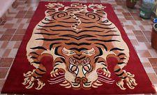 Tibetan TIGER RUG Carpet tibet nepal stripe Extra Large 5x8 6x9 red brown wool
