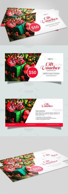Christmas Gift Voucher template-V06. Stationery Templates. $6.00