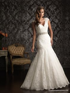Well-known Allure Bridals 9010 Vintage Lace Wedding Dress | Lace Wedding Dresses with Straps UK in Our Shop