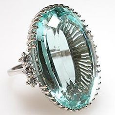 Vintage Natural Aquamarine  Diamond Ring Solid 18K White Gold
