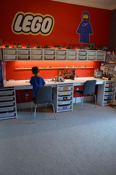 Our LEGO room is our favorite room in our house right now. It has perfect LEGO storage and awesome LEGO decals. Read for how to build a LEGO room! Mesa Lego, Lego Display, Toy Rooms, Kid Spaces, Small Spaces, Small Rooms, Kids Bedroom, Bedroom Ideas, Big Boy Bedrooms