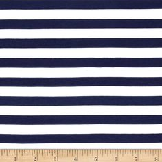 """Riley Blake Jersey Knit 1/2"""" Stripes Navy from @fabricdotcom  From Riley Blake Fabrics, this lightweight stretch cotton jersey knit fabric features a smooth hand and four way stretch for added comfort and ease. With 50% stretch across the grain and 25% vertical stretch, it is perfect for making t-shirts, leggings, loungewear, yoga pants and more! It features printed horizontal stripes."""