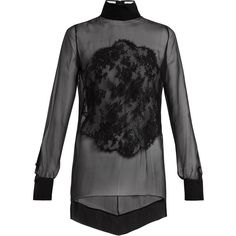 Givenchy Lace-appliqué high-neck sheer silk blouse (4.715 RON) ❤ liked on Polyvore featuring tops, blouses, black, floral print blouse, high neck lace blouse, lace top, zip blouse and sheer lace blouse