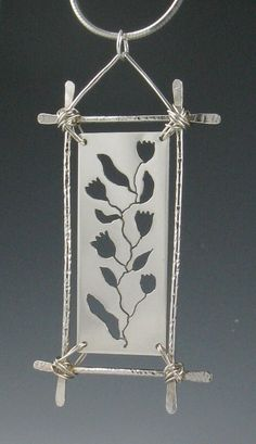 Sterling Silver Botanical Pendant Necklace by annewalkerjewelry