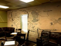Wall decal of Middle Earth Vintage style wall map of Lord