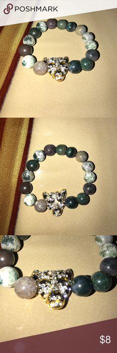 Jag Bracelet Jade colored beaded bracelet w/ bedazzled jaguar charm Jewelry Bracelets
