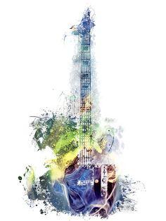 Electric guitar watercolor blue yellow