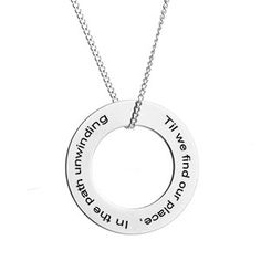 0d1ae8396 Circle Pendant on a Stainless Steel Necklace Engraved Necklace For Her, Personalized  Necklace, Photo