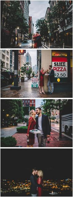 Finally finding the perfect pizza parlour // Epic City Pizza Engagement Session (Complete with Grease-Filled Engagement Rings!)