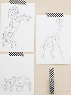 Geometric animals - perhaps a great idea for string art? Geometric outlines of some animals, great attention to detail, can be coloured in but could be a bit risky, thoroughly enjoy the whole outline on its own The Plumed Nest: Interior Design. Polygon Art, Tape Art, Animal Posters, Animal Prints, Geometric Art, Geometric Animal, Geometric Designs, Grafik Design, String Art