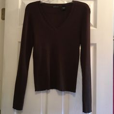 NWOT Moda International Chocolate Brown V-Neck Lrg Never worn. 100% cotton. Victoria's Secret Moda International Chocolate brown v-neck sweater. Size large. Great for the spring! Victoria's Secret Sweaters V-Necks