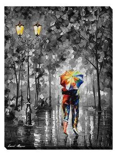 Umbrella — Modern Landscape Romantic Giclee Wall Art Print On Canvas By Leonid Afremov. Size: X Inches x Umbrella — Modern Landscape Romantic Giclee Wall Art Print On Canvas By Leonid Afremov. Oil Painting On Canvas, Painting & Drawing, Canvas Art, Rain Painting, Framed Canvas, Contrast Art, Umbrella Art, Modern Landscaping, Leonid Afremov Paintings