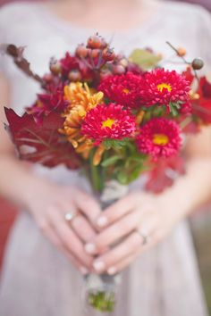 bright pink + gold with berries // photo by Simply Rosie // View more: http://ruffledblog.com/intimate-minnesota-wedding/