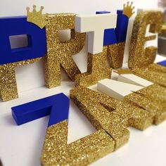 Glitter baby shower decor Gold glitter crown baby letters or any glitter color! Ajo.Bebe brings you the best handmade decoupage cardboard nursery letters ever!  The listing is for one letter, $15 EACH LETTER or $18 with the glitter crown, (long names get a DISCOUNT!)   They are cardboard self standing material, super light weight, perfect for any nursery or as a baby shower decor as a center piece!   You choose any color paint and glitter color youd like but since it is a customized order…