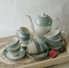 Barratts Vintage Blue and White Coffee Set, complete coffee pot, cream, sugar and six cups and saucers. on Etsy, $100.87