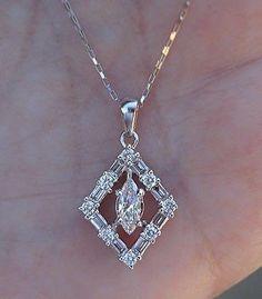 18K E Color Marquise Diamond Baguette and Round Square Pendant Necklace