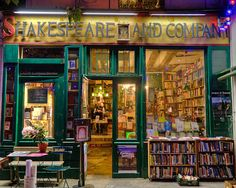 awesome shot of Shakespeare and Co, English bookstore steps away from Notre Dame.