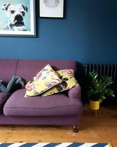 Renovation of Victorian house. Dark navy sitting room with purple sofa. Purple Sofa, Victorian Homes, Dark Navy, Couch, Room, Furniture, Home Decor, Instagram, Hangout Room