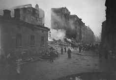 Damaged buildings on Lönnrotinkatu Street in Helsinki, Finland, late 1939-early 1940
