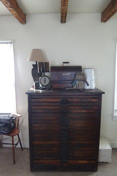 Hamilton Letterpress Cabinet Wood Antique - would love to find one of these with all the drawers intact,...in good condition,...that I could afford and that was at least in the same state I'm in ! ;-)