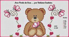 Fofurinha do dia....ursinha em ponto cruz.. Feliz Dia da Mulher... Cross Stitch Baby, Babys, Teddy Bear, Cartoon, Crochet, Fictional Characters, Alice, Cross Stitch Samplers, Cross Stitch Angels