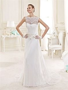 2015 Sheath/Column Off The Shoulder Embroidery Sweep Train Wedding Dresses