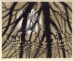 M.C. Escher - Rippled Surface 1950 Linoleum cut in black and grey-brown, printed from 2 blocks