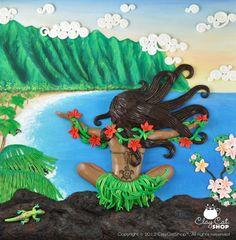 Aloha Spirit ORIGINAL OOAK Polymer Clay Art by by ClayCat on Etsy, $850.00