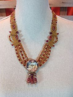 Art Deco gold & red necklace by KRomanoffDesigns on Etsy, $70.00