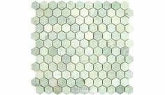 Clear View - Marble Mosaic Tile Hexagon Ming Green Tumbled 12 inch x 12 inch Mesh Backed Sheet - ( 030-15-32 )