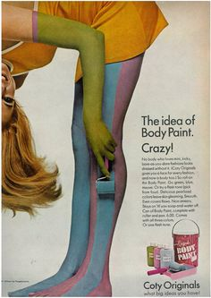 Fashion Forecast - Your Next Best Looks Cover Model Twiggy Photographed by Avedon Corn Silk ad Body Paint ad (!) Glove by Penn Unknown mode. Vintage Makeup Ads, Vintage Beauty, Vintage Ads, Vintage Looks, 60s Makeup, Vintage Vanity, Retro Ads, Vintage Advertisements, Retro Advertising