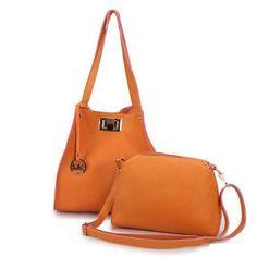 Michael Kors Turn Lock Logo Large Orange Shoulder Bags - $77.99