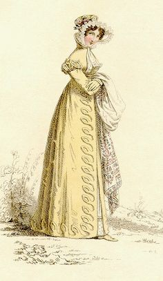 Walking dress, Ackermann's, 1820