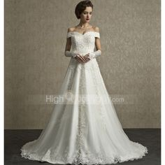 A Line Off the Shoulder Lace Court Train Wedding Dress . For every woman, wedding is a lifetime thing and the wedding dress is the most important part in wedding. It is the symbol of pure and noble love. This wedding dress features A-Line silhouette and off the shoulder, which makes you be the most beautiful woman in the wedding. With this wedding dress,you will be a beautiful bride for sure.  Size Bust Waist Hip Height inch cm inch cm inch cm Ft.In. cm S 29½-32¾ 75-83 23¼-25¼ 59-64 33¾ 86…