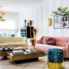 Pink Sofas And Couch Ideas For Chic Living Room Inspiration Chic Living Room, Home Decor, Room Inspiration, Glamour Living Room, Pink Velvet Sofa, Living Room Sofa Design, Living Room Inspiration, Blue Velvet Sofa Living Room, Pink Sofa