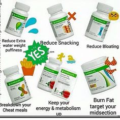 Get rid of water weight! Reduce the urge to snack! Reduce Bloating! Breakdown your cheat meals! Keep your energy & metabolism up! Burn fat & target your midsection! Herbalife Enhancers can help! Go to https://www.goherbalife.com/calejandra/en-US