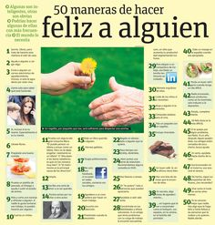 Commands (Tu) w/ & w/o pronouns - 50 maneras de hacer feliz a alguien (INFOGRAPHIC) Lesson idea: Read through these and students come up with their own list of things to do to make others (or specific people happy)